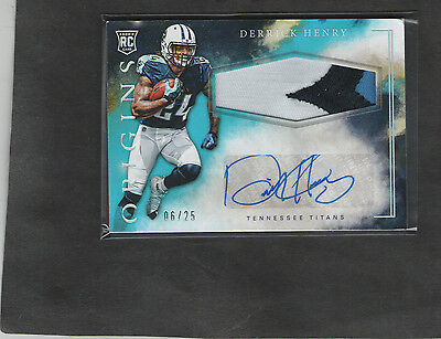 2016 Origins Derrick Henry (Blue) Titans RB Rookie Autograph/3-CL Patch #d 6/25