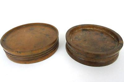 Pair Of Antique Medical/apothecary/pharmacy Boxwood Treen Pill Rounders