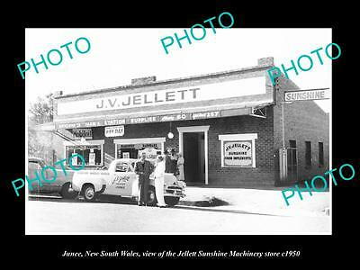 Old Large Historic Photo Of Junee Nsw, View Of The Sunshine Harvester Store 1950