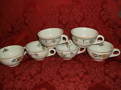 6 Vintage Mayer China Restaurant Coffee Cups Various Fancy Patterns..euc!