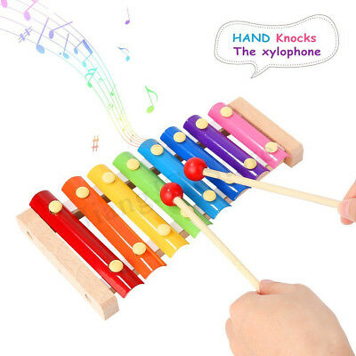 8 Key Note Aluminum Wooden Wood Xylophone Musical Instrument Kids Xmas Gift Toy