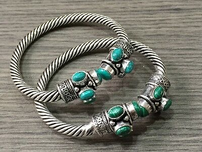 WHOLESALE LOT 2 pcs TURQUOISE & MALACHITESTONE.925 STERLING SILVER PLATED BANGLE