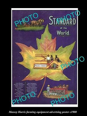 OLD LARGE HISTORIC PHOTO OF MASSEY HARRIS, CANADA FARM EQUIPIMENT POSTER c1900