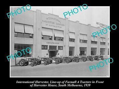 OLD HISTORIC PHOTO OF INTERNATIONAL HARVESTER FARMALL A TRACTOR LINE-UP c1939 1