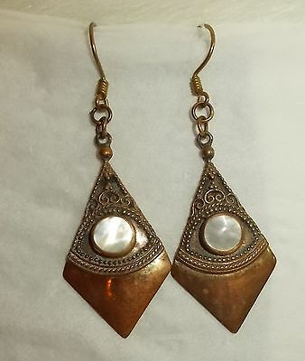 Copper Brass MOTHER OF PEARL EARRINGS Pierced Wires Dangle Drop