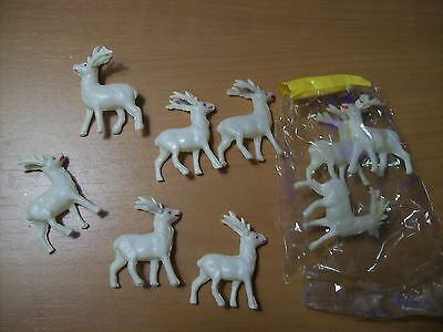 "Lot of 9 Small 1 3/4"" Vintage Christmas White Celluloid Reindeer Open Packaging"