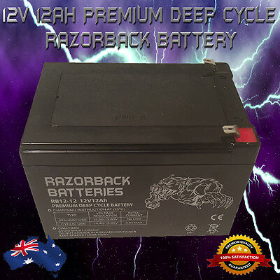 BRAND NEW 12V 12Ah Premium Deep Cycle RAZORBACK Battery for UPS, Solar, Alarm**