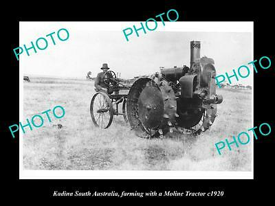 OLD LARGE HISTORIC TRACTOR PHOTO, MOLINE TRACTOR IN KADINA SA c1920