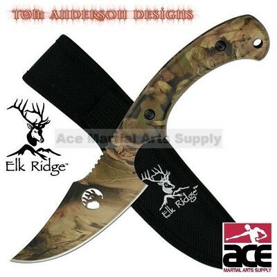 "8"" ELK RIDGE FULL TANG CAMO FIXED BLADE SKINNING KNIFE Hunting Bowie Skinner"