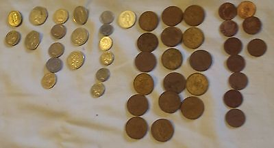 46 British coin lot Pound 50 20 10 5 2 pence 2 new pence 1 penny