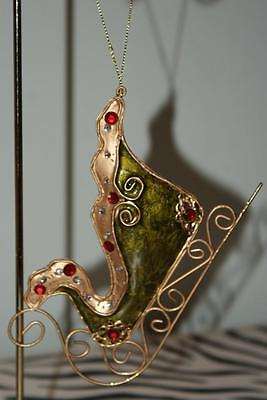 Metal Sleigh Christmas Ornament with Green Inlay and Gems