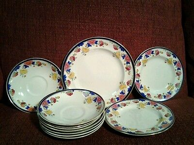 Elegant Antique BOOTHS Silicon China Floral 11 Piece Dinnerware Set,England