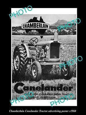 OLD LARGE HISTORIC PHOTO OF CHAMBERLAIN TRACTOR, CANELANDER  POSTER c1960