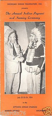 1954 Michigan Indian Foundation Annual Indian Pageant & Naming Ceremony Brochure