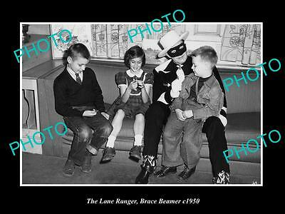 OLD HISTORIC PHOTO OF BRACE BEEMER AS THE LONE RANGER WITH CHILDREN c1950