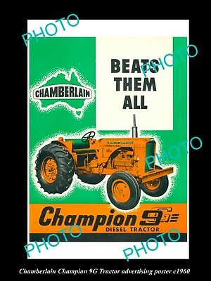 OLD LARGE HISTORIC PHOTO OF CHAMBERLAIN TRACTOR, CHAMPION 9G POSTER c1960 2