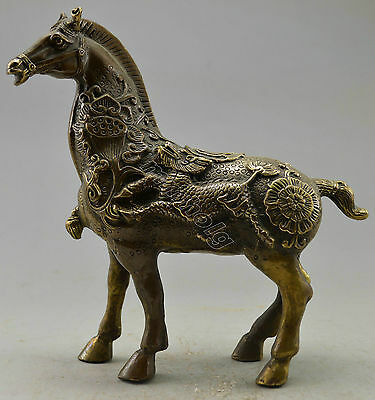 Collectible Decorated Old Handwork Copper Carved Zodiac Horse Kylin Statue