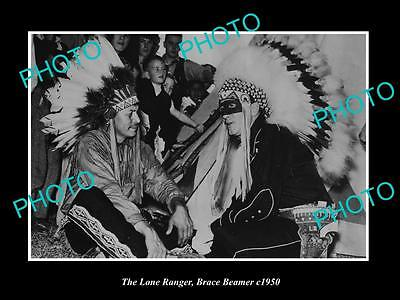 OLD HISTORIC PHOTO OF BRACE BEEMER AS THE LONE RANGER AS INDIAN CHIEF c1950 2