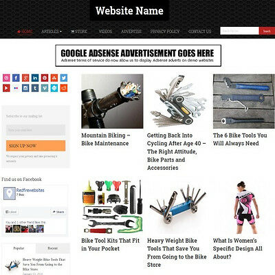 CYCLING SHOP - Premium Affiliate Website Business For Sale, FREE Domain+Hosting!