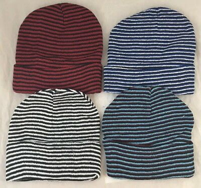12 Assorted Color Striped Beanie Hats Winter Knit Hat Toboggan