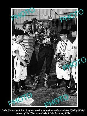 Old Large Historic Photo Of Cowboy Roy Rogers & Dale With Kid Baseball Team 1956