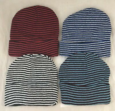 96 Assorted Color Striped Beanie Hats Winter Knit Hat Toboggan