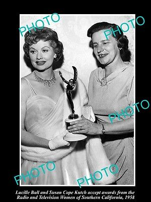 Old Large Historic Photo Of I Love Lucy Star, Lucille Ball Receiving Award 1958