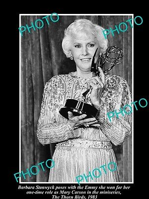 Old Large Historic Photo Of Movie Star Barbara Stanwyck Winning Her Emmy 1983