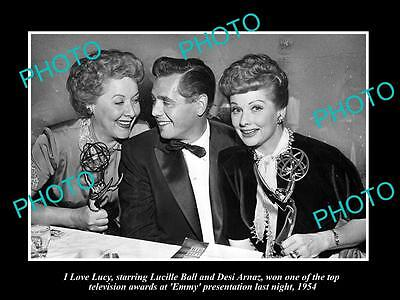 Old Large Historic Photo Of I Love Lucy, Lucille Ball With Her Emmay Award 1954
