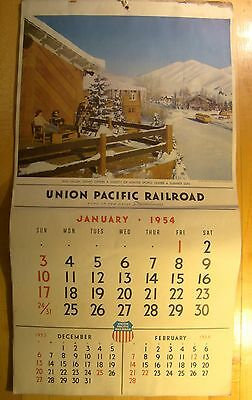 "Union Pacific Railroad Calendar  1954 Large 23"" X 12"" 12 Months Great Pictures"