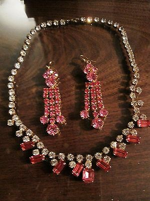 Vintage pink diamonte necklace and earrings