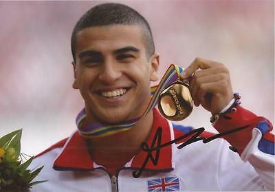 ATHLETICS: ADAM GEMILI SIGNED 6x4 MEDAL ACTION PHOTO+COA *RIO 2016* *TEAM GB*