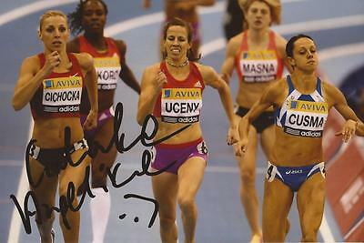 ATHLETICS: ANGELIKA CICHOCKA SIGNED 6x4 ACTION PHOTO+COA *POLAND*