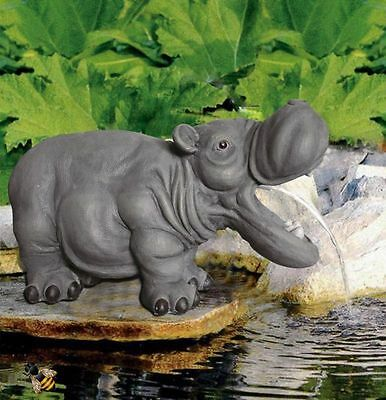 Garden Pond Ornament Spitter Hippo Fountain Water Feature New