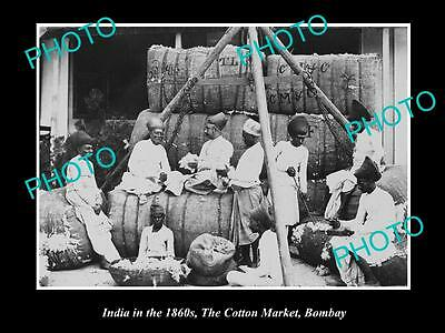 OLD LARGE HISTORIC PHOTO OF INDIA IN THE 1860s, THE COTTON MARKET OF BOMBAY