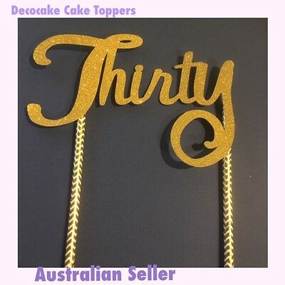 30th Thirty Birthday Cake Toppers  Various Designs & Colours Australian Seller