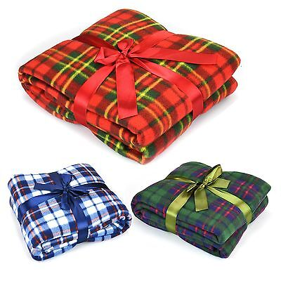 Soft Flannel Fleece Sofa Bed Blanket Throw Chequered Design Luxury Large Warm