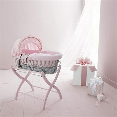 Brand new Izziwotnot grey wicker moses basket in pink gift with pink stand