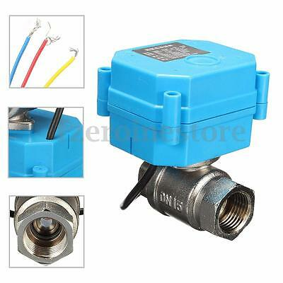 Stainless Steel 1/2'' NPT Electric Motorized Ball Valve DC12V DN15 2-Way 3-Wire