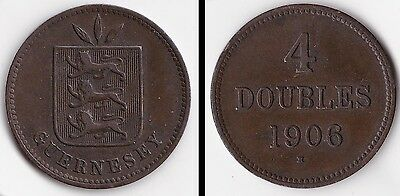 1906 Guernsey 4 Doubles coin somewhat worn