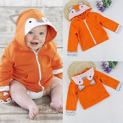 Newborn Toddler Kids Baby Boy Girl Warm Fox Coat Hooded Outerwear Jacket Clothes