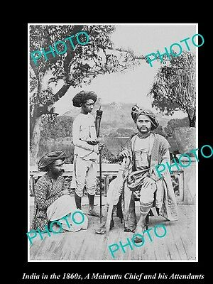 OLD LARGE HISTORIC PHOTO OF INDIA IN THE 1860s, MAHARATTA CHIEF & HIS ATTENDANTS