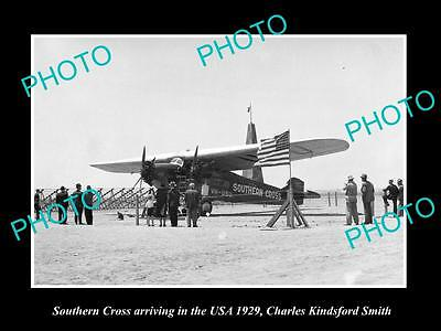 Old Historic Aviation Photo, Kingsford Smith & Southern Cross In The Usa 1929 2