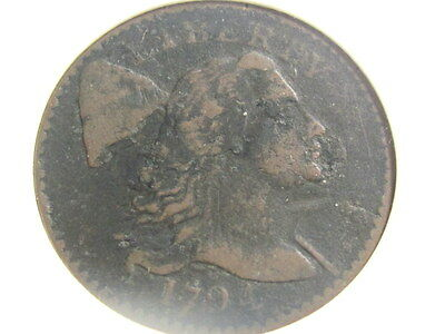 1794 Us Flowing Hair Large Cent, Anacs Vg08, Very Nice !!!!!!!!!!