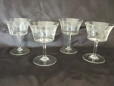 Set Of 4 Cut Glass Edwardian Pall Mall Champagne Coupes Saucers Wine Glasses