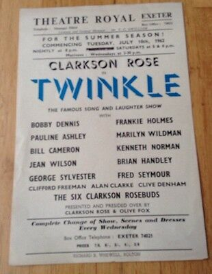 THEATRE ROYAL EXETER flyer 1962 TWINKLE with CLARKSON ROSE