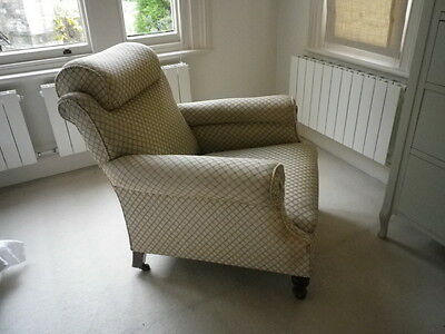 French vintage deep seated armchair very comfy unusual curved club shape