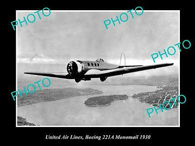 OLD HISTORIC AVIATION PHOTO UNITED AIR LINES, BOEING MONOMAIL PLANE c1930