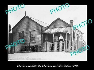 Old Large Historic Photo Of Charlestown Nsw, The Charlestown Police Station 1920