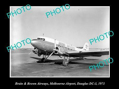 Old Large Historic Photo Of Brian & Brown Airways Douglas Dc-3, Melbourne 1971